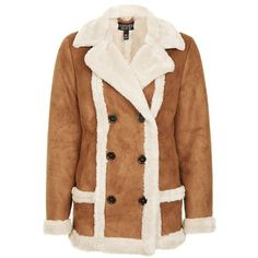 Women's Topshop Faux Shearling Car Coat ($150) ❤ liked on Polyvore featuring outerwear, coats, brown coat, faux shearling coat, sherpa coat, car coat and topshop coats
