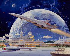 Science Fiction World — Art by Robert McCall. Futuristic City, Futuristic Architecture, Art Science Fiction, Sci Fi Wallpaper, Sci Fi Kunst, Colani, 70s Sci Fi Art, Space Illustration, Environment Concept Art