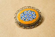Italian Micro Mosaic Brooch Pin Flower Silver Tone door broesj