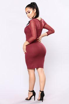 Gianna Mesh Dress - Wine