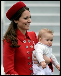 Kate and baby George arrive in New Zealand for their Royal Tour, April 7, 2014.