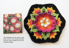 Crocheted By Robin Atkins - Frida's Flowers Blanket Hexagon - colors inspired by flower catalog images - Free Pattern By Jane Crowfoot on Ravelry Hexagon Crochet Pattern, Form Crochet, Crochet Flower Patterns, Crochet Squares, Diy Crochet, Crochet Dolls, Crochet Flowers, Embroidery Patterns, Free Pattern