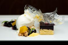 Blueberry with Cornbread and Corn Sorbet