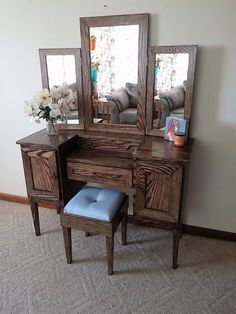 Lavish Lady III Oak Makeup Vanity Table with Tri Fold Mirror by Meagansmood on E. - All About MakeUp Wood Makeup Vanity, Wood Vanity, Custom Vanity, Make Up Organiser, Cute Room Decor, Makeup Rooms, Adjustable Shelving, Solid Oak, Kitchen Remodel