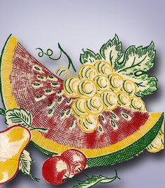 1950s Vintage Vogart Textilprint 26 Crisp Fruit Color No Sew Hot Iron Transfer…