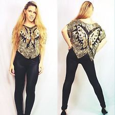 e9bf687669 Vintage 70s 80s Black Gold Sequin Beaded Top Silk Butterfly Slouchy Disco  Glam