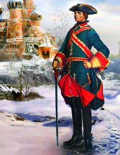 Russian household guard officer in the Kremlin, Great Northern War