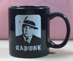 "Chicago Mobster Gangster Mafia Scarface Scar Face Al Capone Black White Coffee Mug Cup  Measures 3 3/4"" tall and 3 1/4"" wide without the handle, 4 3/4"" including the handle  Excellent Used Condition:  No cracks, chips, or breaks Shiny exterior and interior, with no user marks"