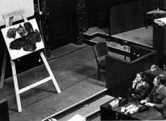 A lampshade made out of human skin is presented as piece of evidence for the crimes of National Socialism during the Nuremberg Trials 1946 in Nuremberg at the International Military Court of Justice. Photo: Yevgeny Khaldei