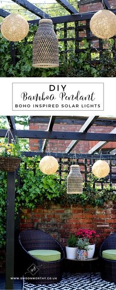 DIY Boho Inspired Bamboo Solar Lights - this quick and easy tutorial will show you how to turn ordinary wicker bamboo or twine pendants into outdoor solar lights quickly and easily! Check out the full tutorial to see how to create these easy boho accents
