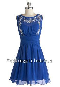 Customized Sleeveless Navy Jewel Beadings Chiffon Short Dress Prom Wedding Bridesmaid Dress Cocktail Dress Evening Dress Party Dress on Etsy, $85.00