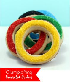 How to make Olympic ring sugar cookies...so easy! olymp parti, office parties, olymp cooki, olymp ring, decorated cookies, decorated sugar cookies, parti idea, olymp fun, kid