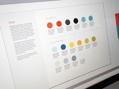 Style guides are the foundation behind a great user interface. They display the beautiful colors, typography choices, and layout in an organized manner. Design Brochure, Design Logo, Layout Design, Branding Design, Flat Design, Print Design, Corporate Design, Corporate Identity, Brand Style Guide