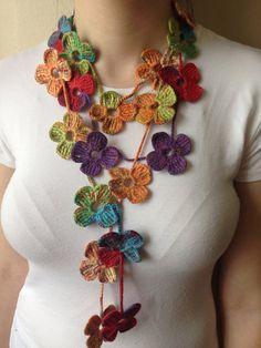 656b561330af Floral Colourful Crochet Scarf by Yellowcrochet on Etsy,  20.00 Echarpe,  Colliers, Foulard Au
