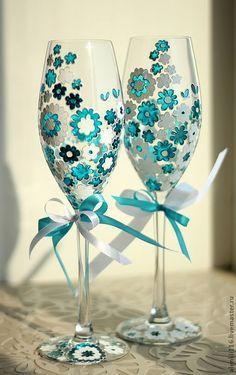 """Купить Свадебные бокалы """"Бирюзовые цветы"""" - свадебные бокалы, купить свадебные бокалы, бокалы для молодоженов"""