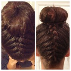 Braid from the front and bottom. Meet in the middle and tie up in sock bun or Hot Bun.