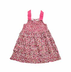 """Vestido para niña, con estampado en colores fucsia y vino tinto.Dos cintas de terciopelo en color fucsia, con dos lazos fijos sobre los hombros. Lleva bordado tipo """"nido de abeja"""" hecho con hilo color fucsia. A lo largo del vestido tiene varios encajes de la misma tela. The Bund, Kids Wardrobe, Fashion, Girls Dresses, Little Girl Clothing, Velvet Ribbon, Lace, Needlepoint, Honey Bees"""