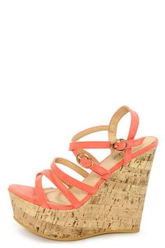 Check it out from Lulus.com! Make a splash with stylish straps in the Amya 1 Coral Strappy Platform Wedge Sandals! Thin strips of soft microfiber form a crisscrossing network of lovely straps, with two adjustable golden buckles (and hidden elastic) on the outside for the perfect fit. 1.75