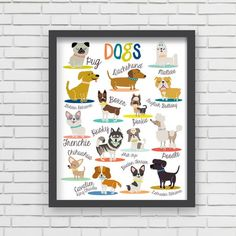 """With an effortless modern style, Lucy Darling offers a high-quality dog themed art print designed to help celebrate the darling moments of a baby's life. • Perfect Nursery Wall Decor!• Great baby shower gift!• Unique retro, modern, and whimsical design • Made in the USA• Printed using recycled materials• Eco-friendly soy based inks *Frame and accessories not included """"My sister is a huge dog lover and absolutely loved the product!"""" -Marti"""
