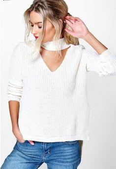 sweater white white sweater choker neckace choker top choker sweater fall…