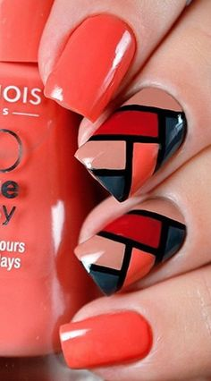 Coral Nails with Color Blocking