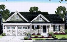 Country Style House Plans - 1321 Square Foot Home , 1 Story, 3 Bedroom and 2 Bath, 2 Garage Stalls by Monster House Plans - Plan 23-412