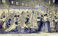 The manufacture of hoop Crinolines  engraving by Bach  I hear there is a copy of this engraving at Musee Carnavalet, Paris