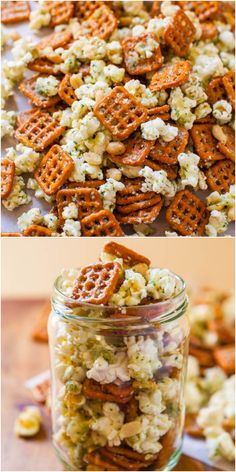 Parmesan Ranch Snack Mix - Averie Cooks - - Parmesan Ranch Snack Mix – Averie Cooks food: snacks Parmesan Ranch Snack Mix – Pretzels, peanuts & popcorn tossed with ranch mix! Ready in 5 mins & so addictively good! Yummy Snacks, Healthy Snacks, Yummy Food, Healthy Recipes, Savory Snacks, Ranch Dip, Chex Mix, Appetizer Recipes, Snack Recipes