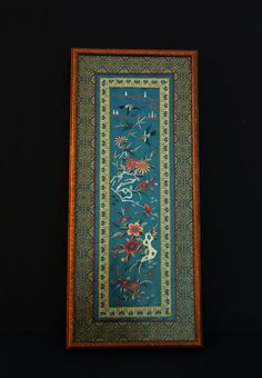 Framed Chinese Silk Hand Embroidered Wall Hanging with Birds Floral Butterfly