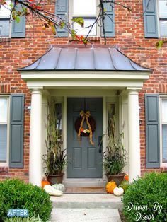 cool small front porch design ideas:gorgeous outdoor decoration sophisticated small porch ideas and slate roofing designs with single gray front door feat brick wall facade inspiring cla Front Door Overhang, Front Door Porch, Front Porch Design, Porch Roof, Front Entry, Porch Designs, Portico Entry, Front Doors, Door Entry