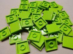 Lego ~ Bulk Lot Of 50 Lime Green Smooth 1x2 Finishing Tiles Flat Girl  1 x 2