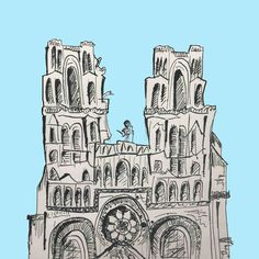 ART EVERY DAY NUMBER 188 / INK / ILLUSTRATION / LA GRANDE EGLISE  Art every day number 188 LA GRANDE EGLISE was drawn with an (old-fashioned) pen & inkwell.  An olden-times tool used to illustrate an olden-times, historic site; the French Gothic Church.  One small piece of art & illustration a day / Janet Bright  #eglise #inkwell #penink #frenchgothic #gothic #gothicchurch