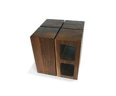 """Wooden """"cinder blocks"""" by Sergio Silva."""