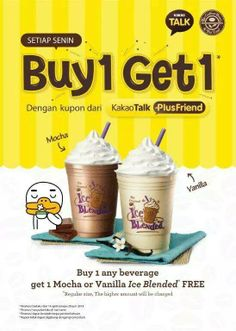 Boost your Monday with BUY 1 GET 1 FREE promo using Kakao Talk coupon every Monday! The Coffee Bean treats you to a nice Mocha or Vanilla Ice Blended for every purchase of any beverage. Food Poster Design, Menu Design, Food Design, Chocolates, Mobile Coffee Shop, Ad Photography, Coffee Poster, Promotional Design, Coffee Tasting