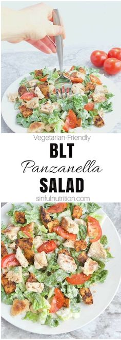 BLT Panzanella Salad Recipe -- A deconstructed BLT sandwich made with bacon, toasted biscuit pieces, chopped romaine, sliced tomatoes, and a creamy buttermilk dressing. Can even be made vegetarian-friendly! | @sinfulnutrition | #salad | #recipe | #BLT | #bacon | #vegetarian | #lunch |