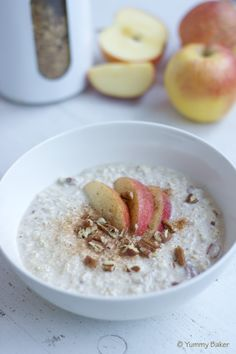 Overnight oats flavored with apple and cinnamon