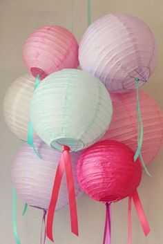 Cute color palette for a Japan/ cherry blossom theme party! Also love the ribbons (This could be a cost effective shortcut to add some color if you can't find cheap pastel colored paper lanterns! Party Kulissen, Party Time, Party Ideas, Cherry Blossom Party, Japanese Birthday, Asian Party, Happy Birthday, Birthday Parties, Lanterns Decor
