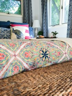 Bedroom Makeover — Cheerful bedding from Pottery Barn