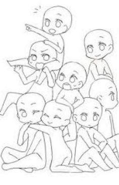 Draw the squad Drawing Base, Manga Drawing, Drawing Sketches, My Drawings, Draw Chibi, Anime Chibi, Anime Art, Draw The Squad, Art Reference Poses