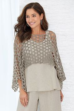 Mykonos Shrug by Go Lightly - Silver, L (Knit Shrug) Knit Shrug - An airy shrug hand crocheted by the artist lends textural interest to ensembles while remaining cool and lightweight. Poncho Crochet, Mode Crochet, Knit Shrug, Crochet Blouse, Easy Crochet, Crochet Stitches, Knit Crochet, Bolero Crochet, Lace Shrug