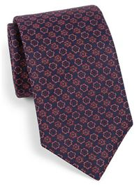 Eton of Sweden - Floral Medallion Print Silk Tie: A tie changes the whole look of your suit, and is so easy to pack – rolled up, just stick it in your shoe.