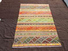 "Kilim Rug,6,4""x8,11"" Feet 193x272 Cm Vintage Home Decor Floor Rug,Stripe Patter Flat Weave Woven Turkish Kilim Rug,Colorful Floor Kilim Rug."