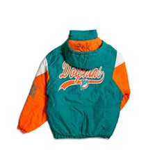 90's MIAMI DOLPHINS STARTER WINDBREAKER ❤ liked on Polyvore featuring activewear, activewear jackets and nfl sportswear