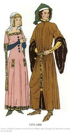 Cote and surcote, 1375-1400. A low neckline and a formfitting dress was the main style for that of a woman during this time.Two gowns are worn over each other and the sleeves are close fitting.
