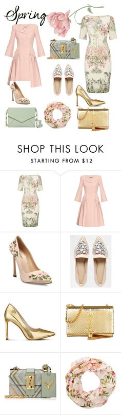"""""""Tender in every way"""" by yulia-hromova ❤ liked on Polyvore featuring Adrianna Papell, Alexander McQueen, Giambattista Valli, ASOS, Nine West, Yves Saint Laurent, Valentino, New Look and Kate Spade"""