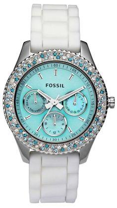 New Fossil Women's Stella Aqua Face Teal Blue White Crystal Bezel Watch ES2894 | eBay