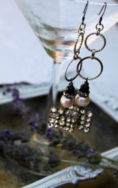 Vintage Rhinestone Pearl and Onyx Dangling Earrings by simplymeart