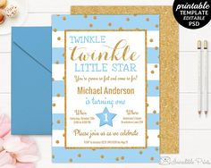 Printable smurfs 5th birthday party invitation template smurfs printable twinkle little star boy birthday party invitation template gold glitter boy birthday invitation filmwisefo