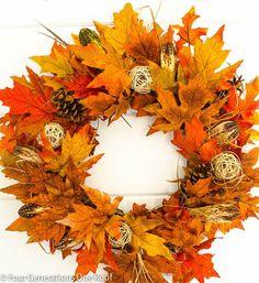 Knutselen met bladeren: 25+ leuke knutselideeën met blad uit bos of tuin Wreath Crafts, Diy Wreath, Grapevine Wreath, Felt Wreath, Tulle Wreath, Burlap Wreaths, Decor Crafts, Diy Crafts, Autumn Crafts
