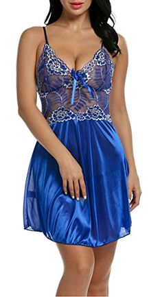 Women Sexy Babydoll Sleepwear Lace Seethrough Lingerie Chemises Dress L Blue >>> Details can be found by clicking on the image-affiliate link.